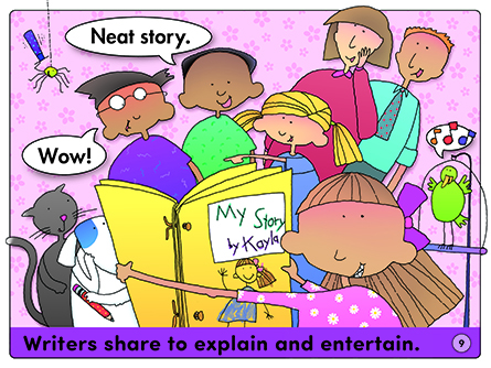 Writers share to explain and entertain.
