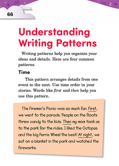 Understanding Writing Patterns Opening Page
