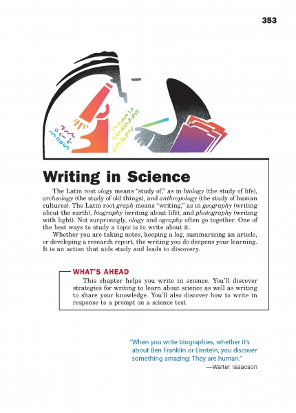 Writing in Science Chapter Opener